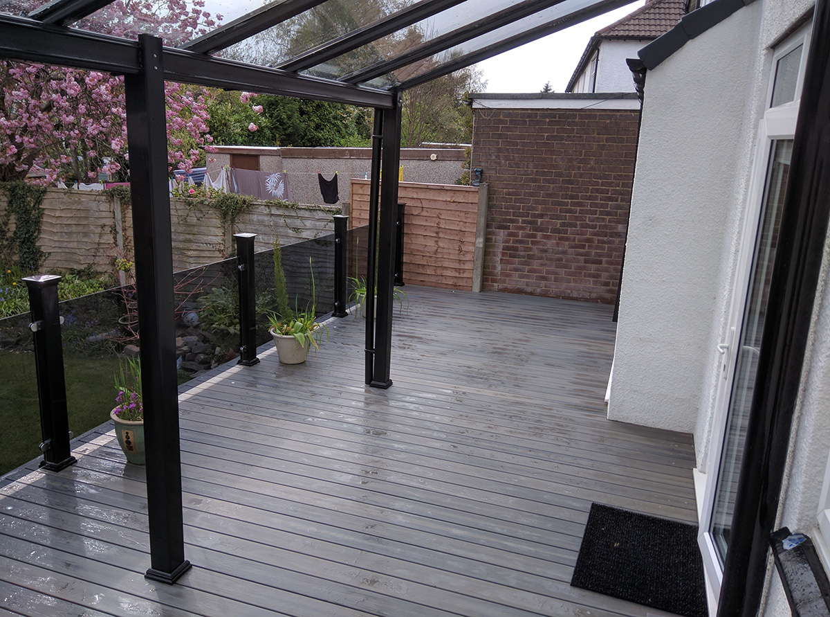 modern steel veranda installer in leigh lancashire greater manchester north west p clark. Black Bedroom Furniture Sets. Home Design Ideas